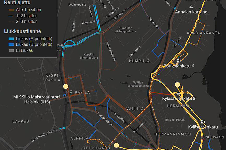 Kuvakaappaus Apuri-sovelluksen karttanäkymästä.